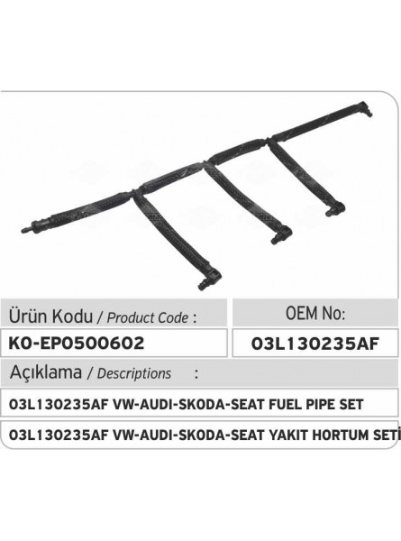 03L130235AF VW-AUDI-SKODA-SEAT КОМПЛЕКТ ТОПЛИВНОЙ ТРУБКИ