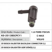 Пластиковый соединитель  обратки (L) форсунки Bosch Common Rail (1.6 Ford Focus, Ford CMax, Volvo...)